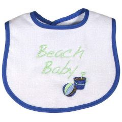 "Raindrops Baby Boys Royal Blue ""Beach Baby"" Embroidered Bib"