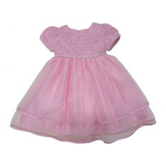 Baby Girls Pink Glitter Trim Embroidered Overlaid Flower Girl Dress 6-24M