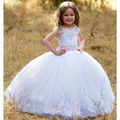 Triumph Dress Girls White Pink Tulle Crystal Lace Stunning Flower Girl Dress 3-7