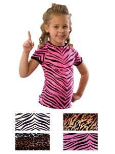 Pizzazz Girls Multi Color Animal Print Raglan Cap Sleeve Tee Youth 2-16