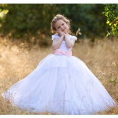 Big Girls White Pink Gloria Lace Applique Tulle Ball Gown Wedding Dress 8-10