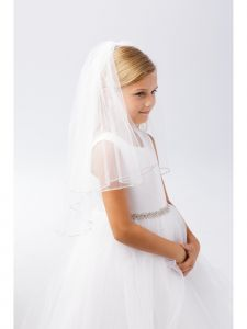 Girls Ivory Rhinestone Clear Casing Double Layer Communion Flower Girl Veil