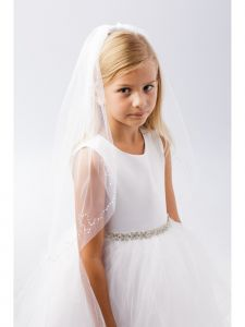 Girls White Sequin Embellished Single Layer Communion Flower Girl Veil