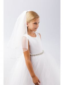 Girls White Sparkle Round Sequin Edge Stylish Communion Flower Girl Veil