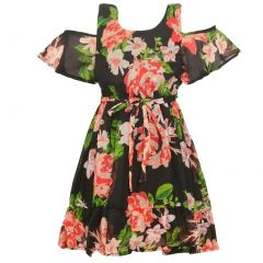 Little Girls Black Coral Floral Print Cold-Shoulder Tea-Length Dress 4-6X