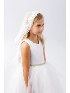 Girls White Scalloped Floral Lace Edge Mantilla Communion Flower Girl Veil