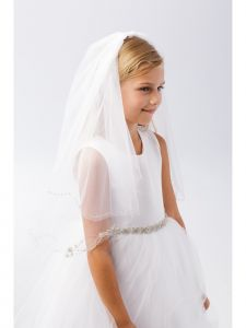 Girls White Floral Beading Double Layer Stylish Communion Flower Girl Veil