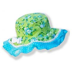 Azul Girls Green Turquoise Floral Print Stylish Garden Party Sun Hat 6M-5Y