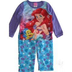 Disney Big Girls Purple Blue Ariel Flounder Print 2 Pc Pajama Set 8-10