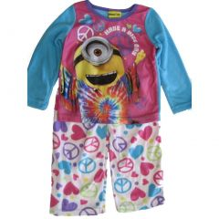 Universal Big Girls Blue Minions Stuart Peace Sign Print 2 Pc Pajama Set 8-10