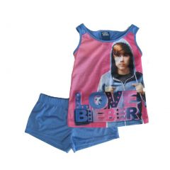 Justine Bieber Little Girls Pink Blue Singer Print Shorts 2 Pc Pajama Set 4-6