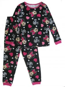 Disney Little Girls Black Pink Minnie Mouse Heart Print 2 Pc Pajamas Set 4