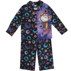Bobby Jack Little Girls Black Buttons Long Sleeve Two Piece Pajama Set 4-6