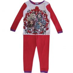 Monster High Big Girls White Red Long Sleeve Thermo 2 Piece Pajama Set 8-12