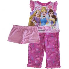 Disney Big Girls Pink Cinderella Belle Rapunzel Print 3 Pc Pajama Set 8-10