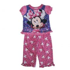Disney Baby Girl Pink Purple Minnie Polka Dot Print 2 Pc Pajama Set 12-24M
