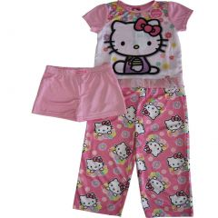 Sanrio Big Girls Pink Hello Kitty Floral Print Shorts 3 Pc Sleepwear Set 8-10