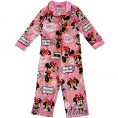 "Disney Little Girls Pink Minnie Mouse ""Peek a Bow"" Print 2 Pc Pajama Set 4-6"