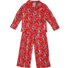 Disney Little Girls Red Minnie Mouse Christmas Print 2 Pc Pajama Set 4-6
