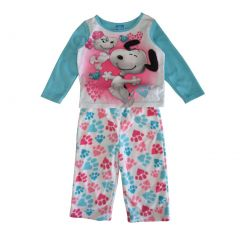 Peanuts Little Girls White Blue Snoopy Paw Print 2 Pc Sleepwear Set 2-4T