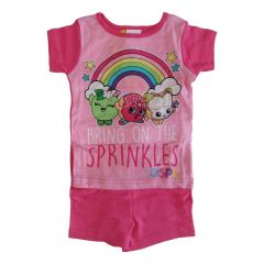 "Shopkins Girls Fuchsia ""Bring on the Sprinkles"" Short Sleeve 2 Pcs Pajama 4-8"