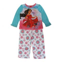 Disney Girls White Blue Princess Elena of Avalor Long Sleeve Pajama Set 2T-4T