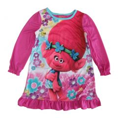 DreamWorks Trolls Big Girls Fuchsia Long Sleeve Ruffle Poppy Nightgown 8-10