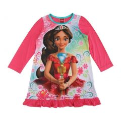 Disney Little Girls Coral Long Sleeve Ruffle Trim Elena Of Avalor Nightgown 4-6