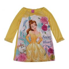 Disney Girls Yellow Beauty Beast Princess Belle Long Sleeve Nightgown 4-8