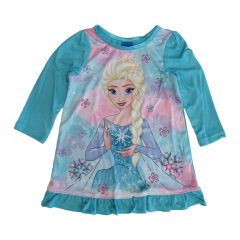 Disney Little Girls Blue Frozen Elsa Long Sleeve Ruffle Trim Nightgown 2-4T