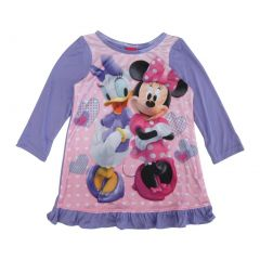 Disney Little Girls Purple Minnie Daisy Long Sleeve Ruffle Trim Nightgown 2-4T