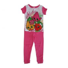 "Shopkins Little Girls Pink ""Aloha"" Short Sleeve 2 Pcs Pajama Set 4-6"