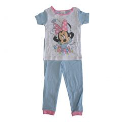 Disney Little Girls White Blue Minnie Mouse Flowers Short Sleeve 2 Pcs Pajama 4T