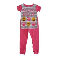 "Emoji Girls Pink Stripe ""Always Feelin'"" Short Sleeve 2 Pcs Pajama Set 4-8"