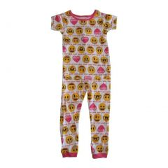 Emoji Girls White Pink Print Short Sleeve 2 Pcs Pajama Set 4-8