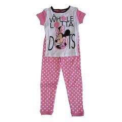 Disney Girls White Pink Minnie Polka Dot Short Sleeve 2 Pcs Pajama Set 4-8
