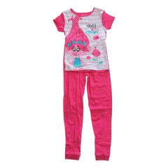 "DreamWorks Girls Pink White ""Yay Poppy"" Short Sleeve 2 Pcs Pajama Set 6-8"