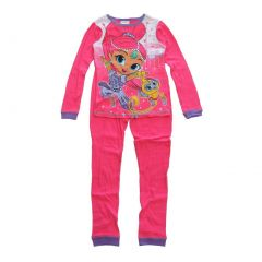 Nickelodeon Big Girls Pink Shimmer Shine Long Sleeve 2 Pcs Pajama Set 8-10