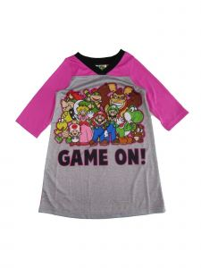 "Super Mario Little Girls Pink Gray ""Game On!"" Print Long Sleeve Nightgown 4-6"