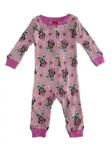 Disney Baby Girls Pink Minnie Print Zipper Closure Sleepwear Jumper 12-24M
