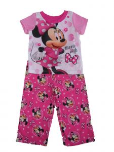 Disney Little Girls Pink White Minnie Polka Dot Print 2 Pc Pajama Set 2-4T