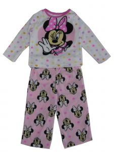 Disney Little Girls White Pink Minnie Mouse Bow Print 2 Pc Pajama Set 2-4T