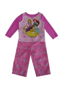 Disney Little Girls Pink Princess Print Long Sleeve 2 Pc Pajama Set 2-4T