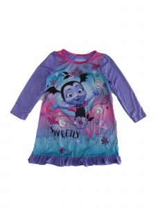 "Disney Girls Purple Vampirina ""Sweetly Vee"" Print Long Sleeve Nightgown 4-8"