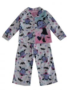 Disney Girls White Purple Vampirina Print Button-Up 2 Pc Pajamas Set 4-8