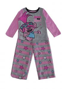 Dreamwave Little Girls Pink Gray Trolls Character Print 2 Pc Pajama Set 4-6