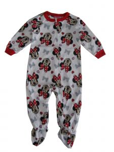 Disney Little Girls Red White Minnie Mouse Print Zip-Up Footed Sleeper 2-4T