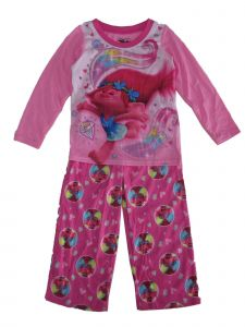 Dreamwave Little Girls Pink Trolls Print Long Sleeved 2 Pc Pajama Set 4-6