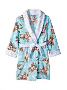 Disney Big Girls Blue Frozen Elsa Printed Shawl Collar Belted Robe 8-10
