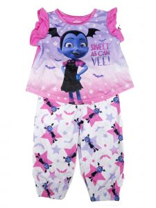 Disney Little Girls Purple Vampirina Short Sleeve 2Pc Pajama Set 2T-4T